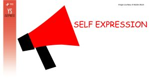 """An illustration of a red megaphone with the words """"self-expression"""" next to it."""