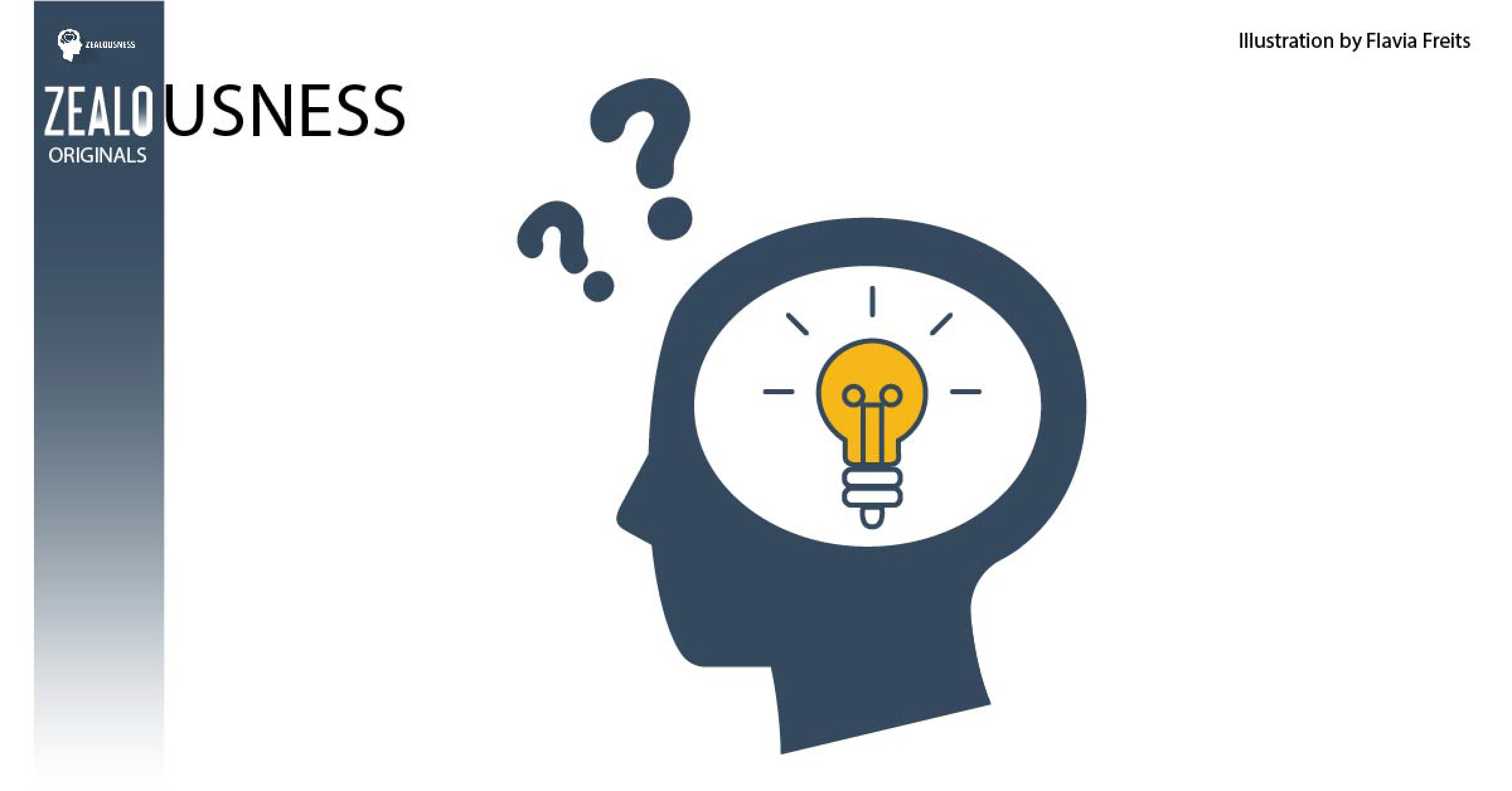Light bulb flashing inside the head with question marks above it.