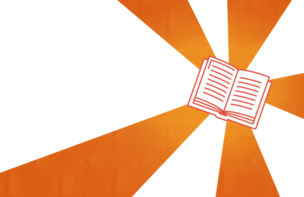 illustration of a book with striped background