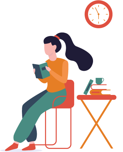 Illustration of a girl reading a book with a pile of books and a cup next to her.