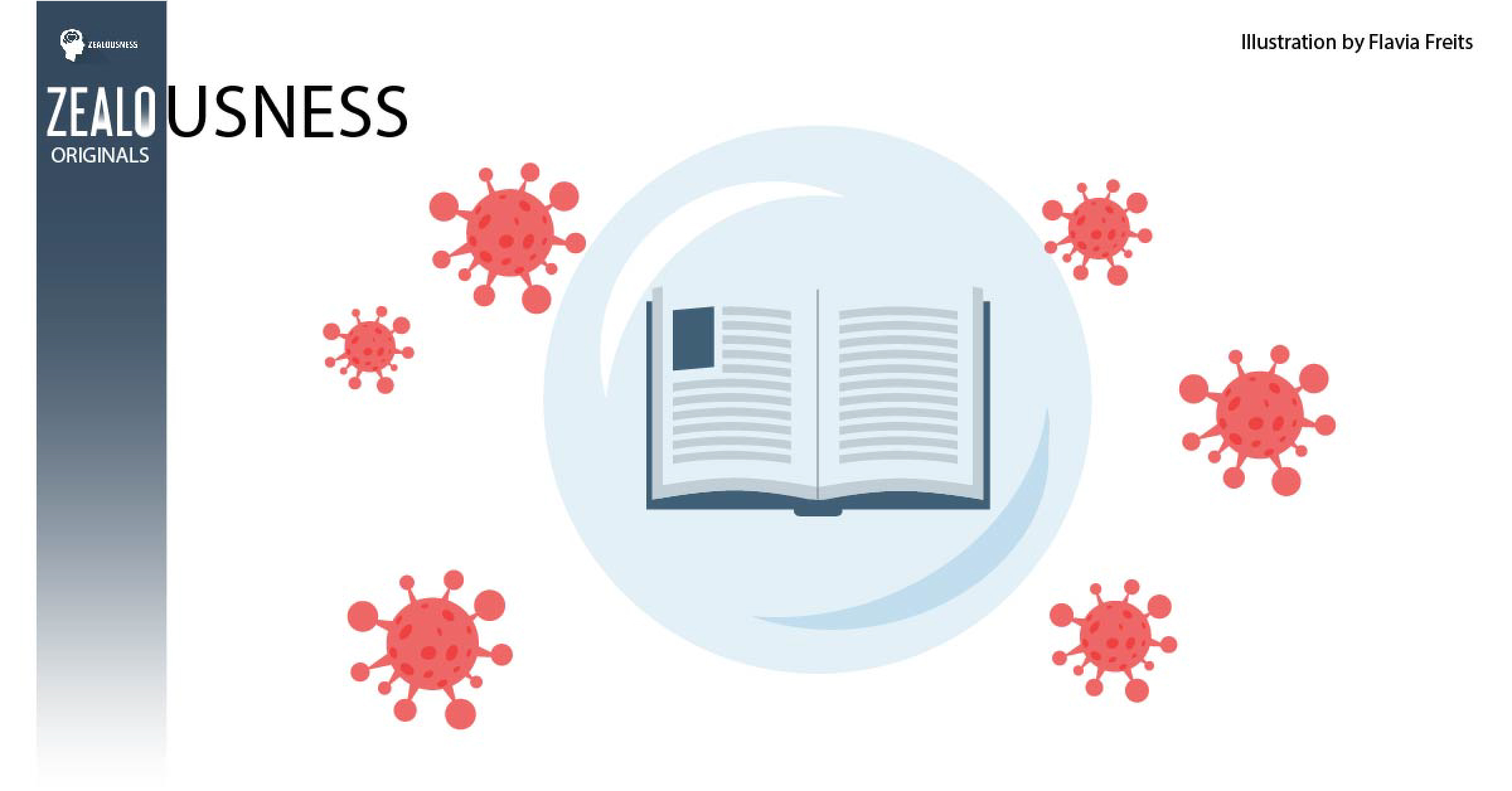 Tiny molecules of a virus surround an illustration of a book.