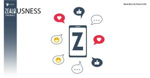 A picture of a cell phone with letter Zsurrounded by social icons.