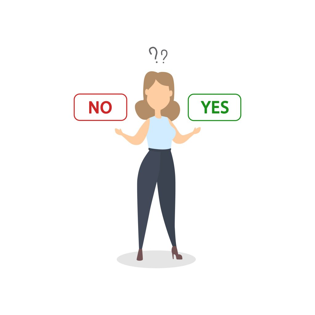 Making a choice. Woman choosing yes or no.