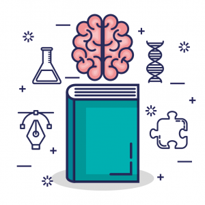 Vector illustration with a book, brain, and a puzzle piece.
