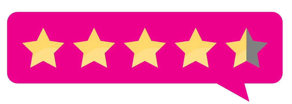 Five-star ranking in a pink speech bubble.