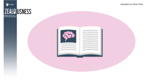 A book with an image of a brain on a pink background.