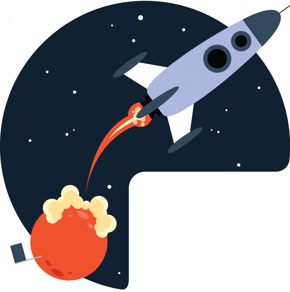 A rocket with a fire trail is flying through outer space.