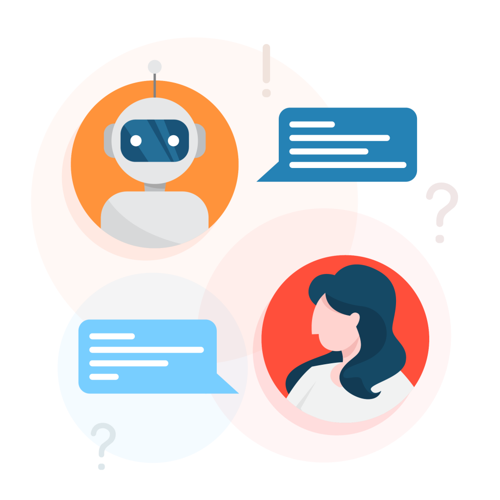 Depiction of an online chat or developing your communication skills.