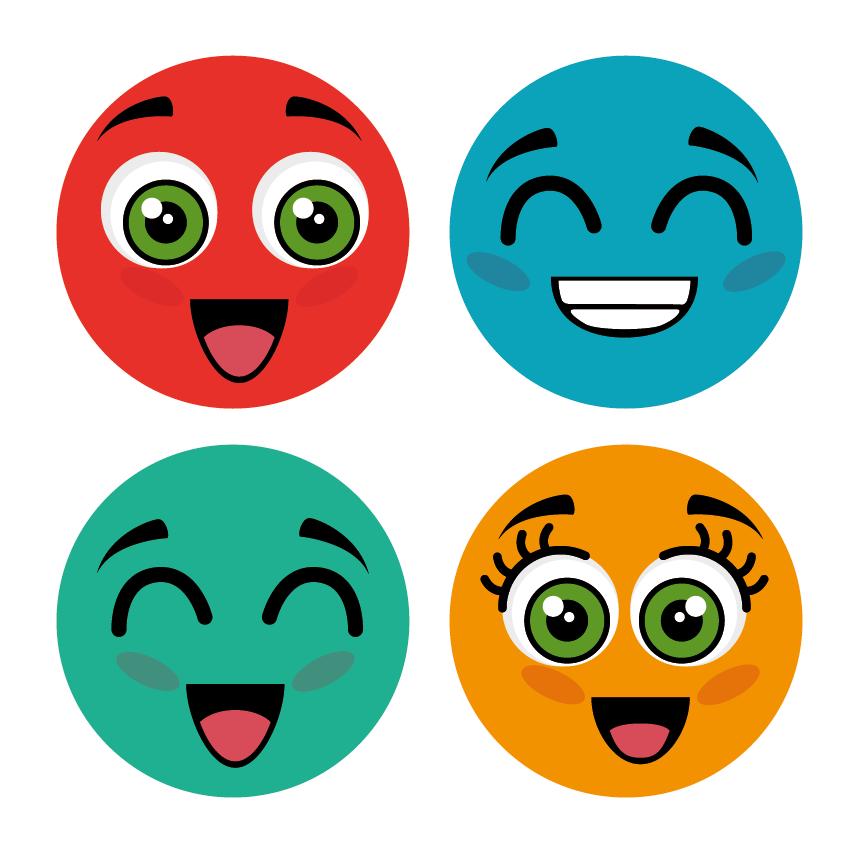 Illustration of emoji series depicting different emotions.