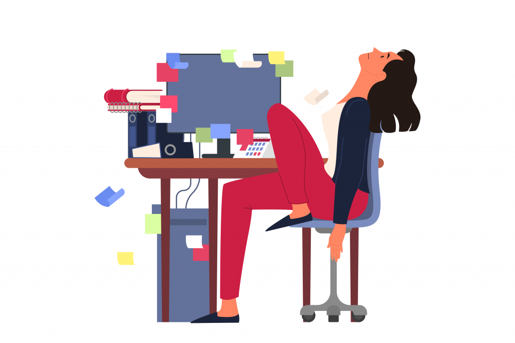 Overcoming procrastination_stressed woman is sitting behind her desk – Adobe Stock