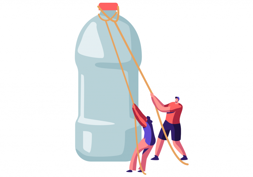 Two people are pulling strings attached to a plastic water bottle.