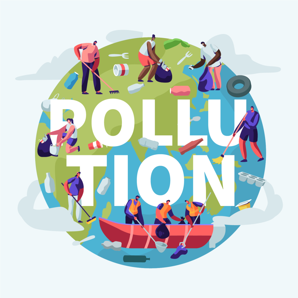 """Depiction of the planet Earth with the word """"pollution"""" across the illustration. A few people are cleaning the waters and tending to the land."""