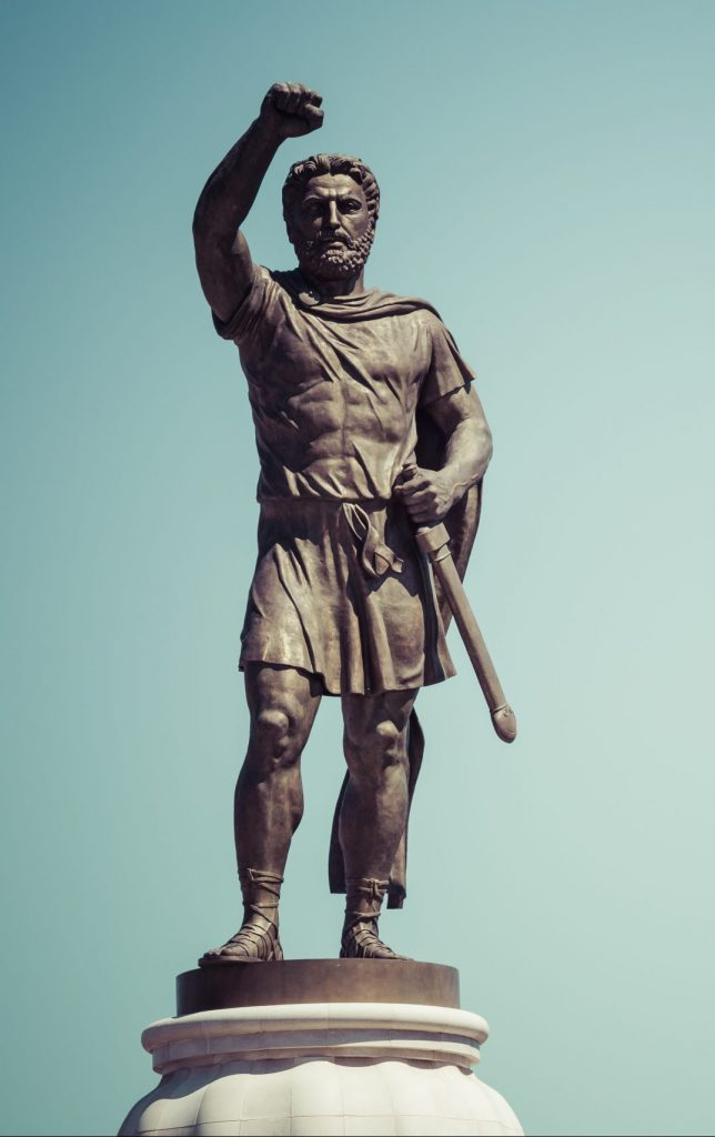 Bronze statue of Alexandre the Great.