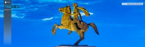 A Statue of Alexander the Great standing at the shore of Greece.
