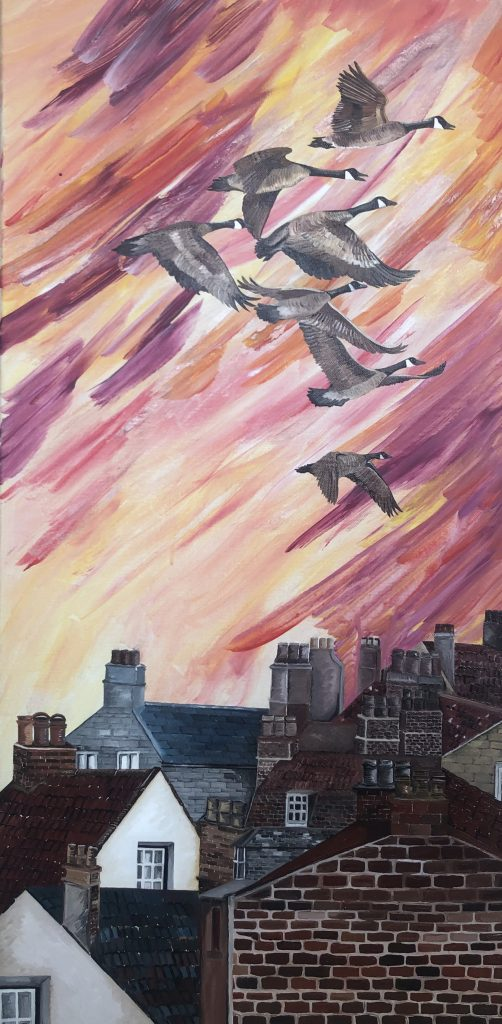 """Figure 9 Title of Painting: """"Geese"""" by Fatima Matar"""