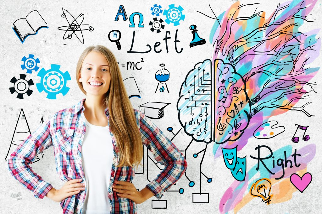 Cheerful european girl on concrete background with mathematical formulas and colorful sketch. Creative and analytical thinking concept