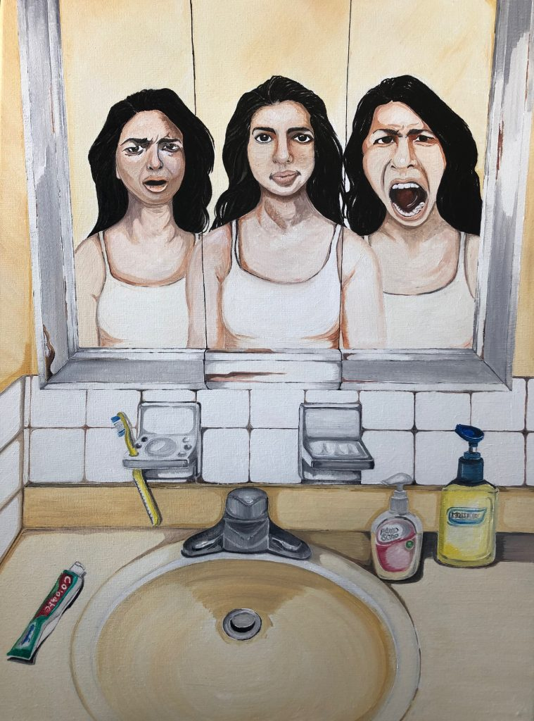 """Figure 8 Title of Painting: None of us is only one: No one knows you as well as your bathroom mirror"""" By Fatima Matar"""