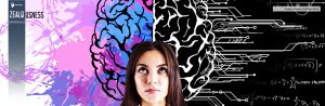A young woman standing in front of the whiteboard with a colorful illustration of a brain and math formulas.