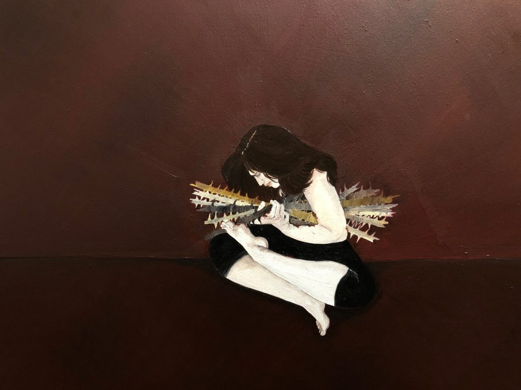 """Figure 2 Title of Painting: """"Why Do You Hold On To The Past"""" By Fatima Matar"""