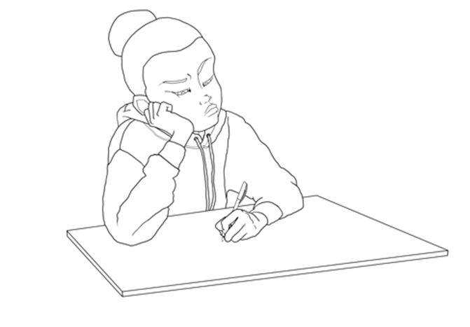 Sad student sitting at a desk Sketch illustration by Allan Solano