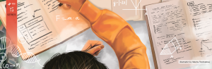 An original illustration of a young girl in an orange hoodie sitting at the desk and working on her homework studies.