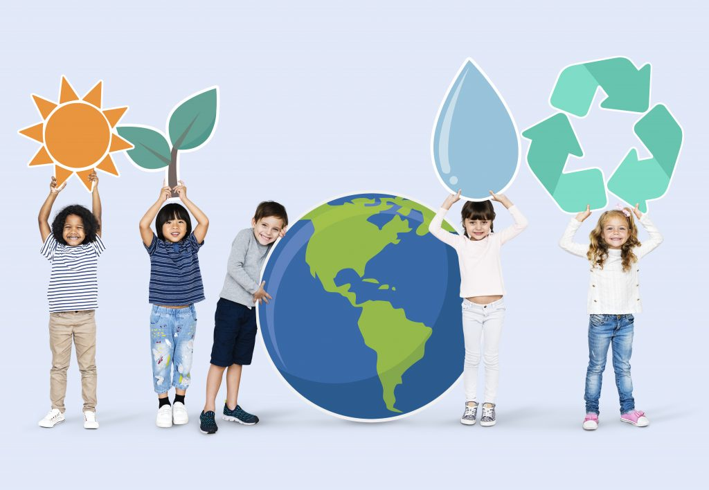 An illustration showing a group of diverse kids with environment icons.